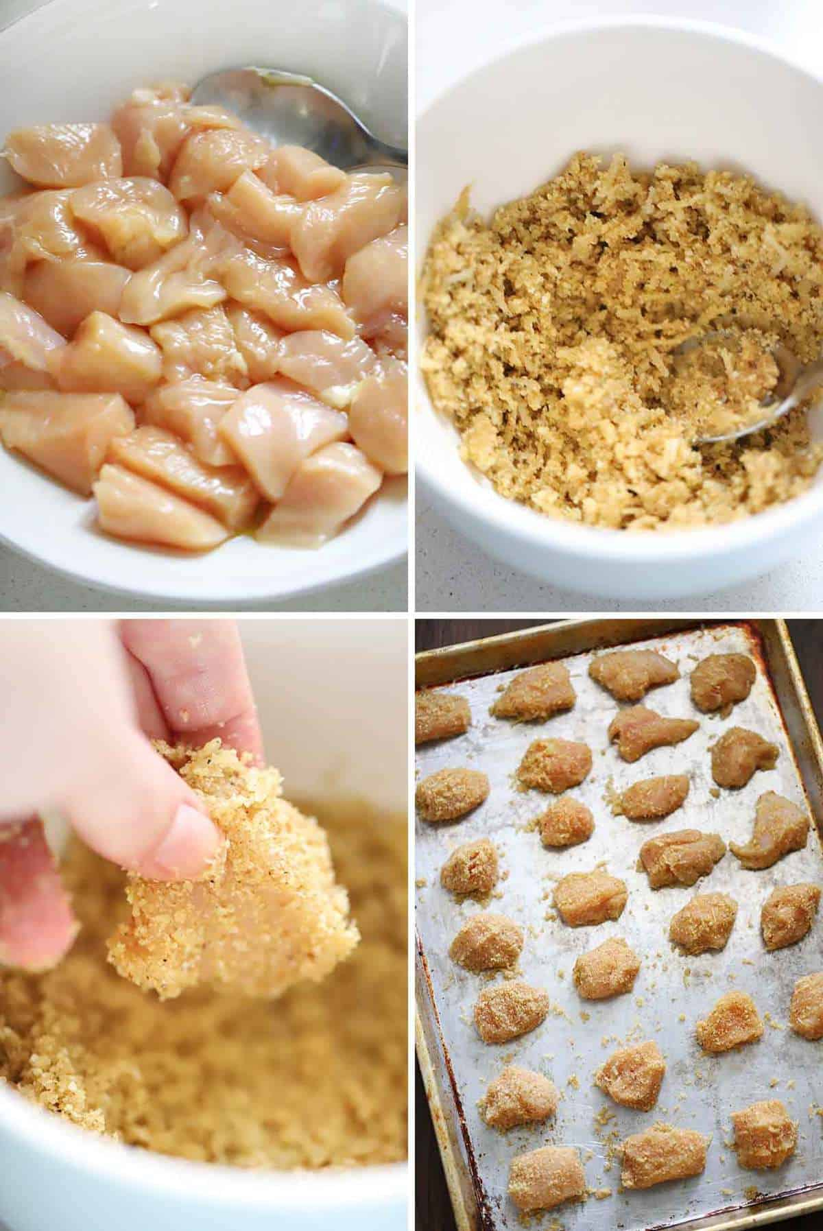 Process collage showing how to make homemade chicken nuggets with breadcrumb coating.