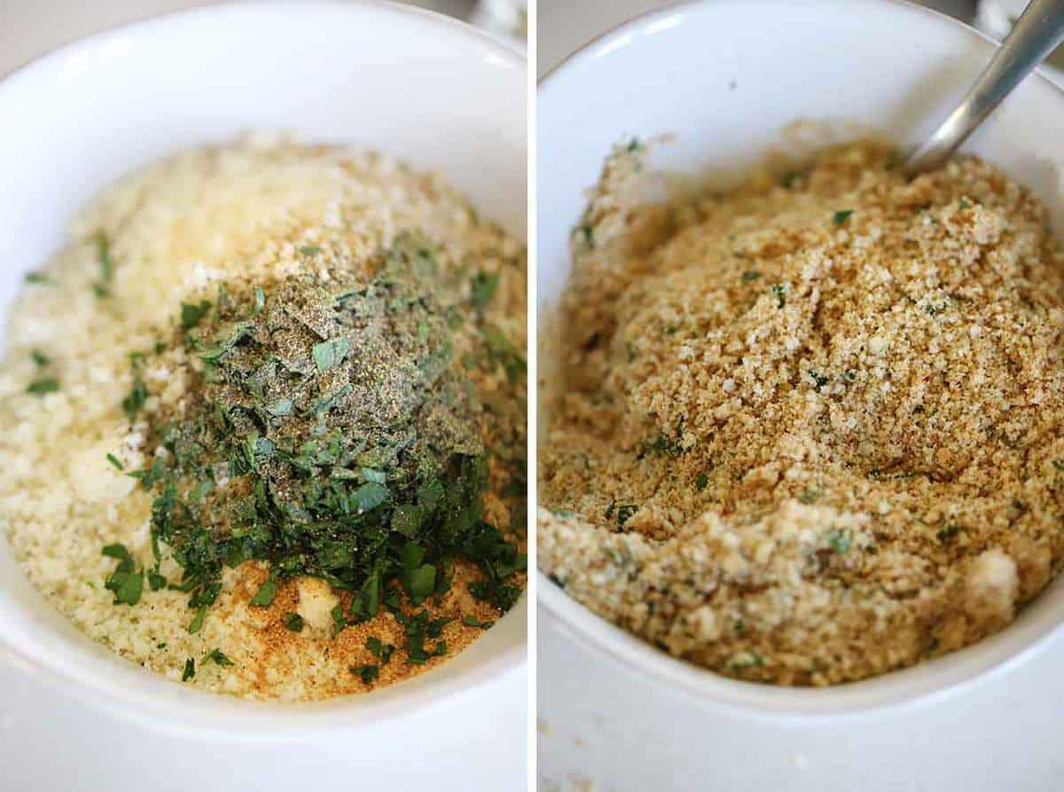 Breadcrumb topping with parmesan, parsley, garlic powder, butter, and breadcrumbs.
