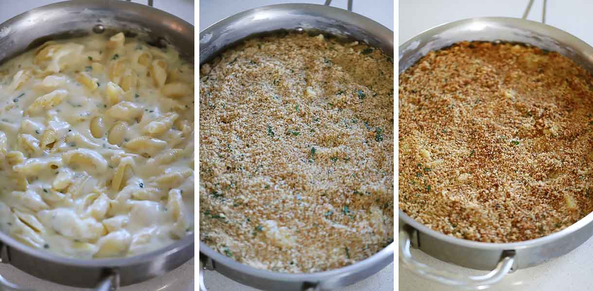 Process collage showing how to broil mac and cheese.