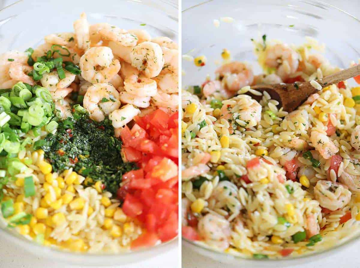 Mixing up shrimp orzo salad with herb vinaigrette in a large bowl.