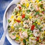 Square image of shrimp orzo salad.