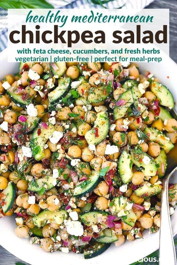 Close-up bird's eye view of Mediterranean chickpea salad.
