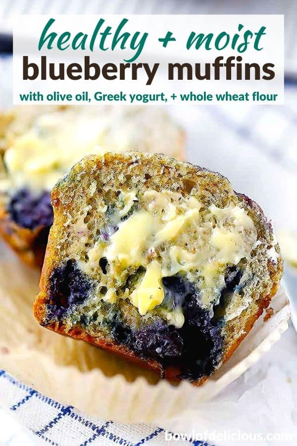 pinterest image for healthy blueberry muffins