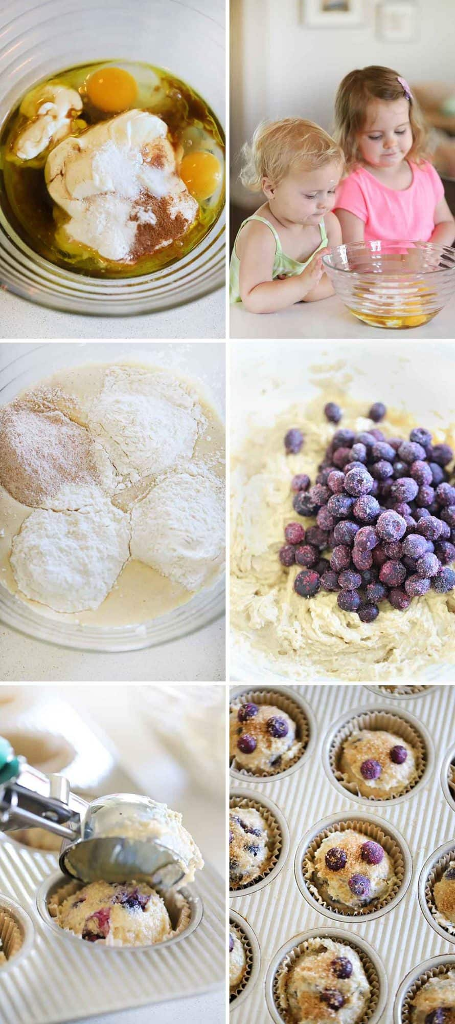 Photo collage showing how to make healthy blueberry muffins with kids helping.
