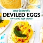 pinterest image for jalapeño deviled eggs