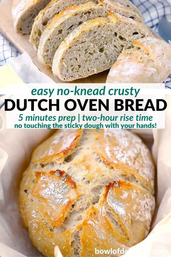 pinterest image for no knead dutch oven bread