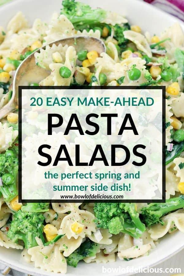 pinterest image for make ahead pasta salad recipes