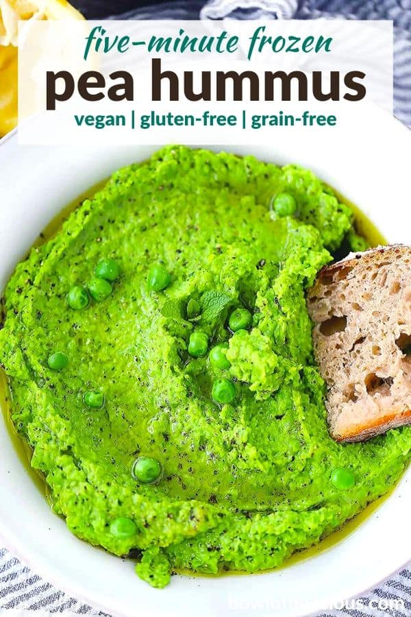 pinterest image for pea hummus