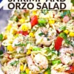 pinterest image for shrimp orzo salad