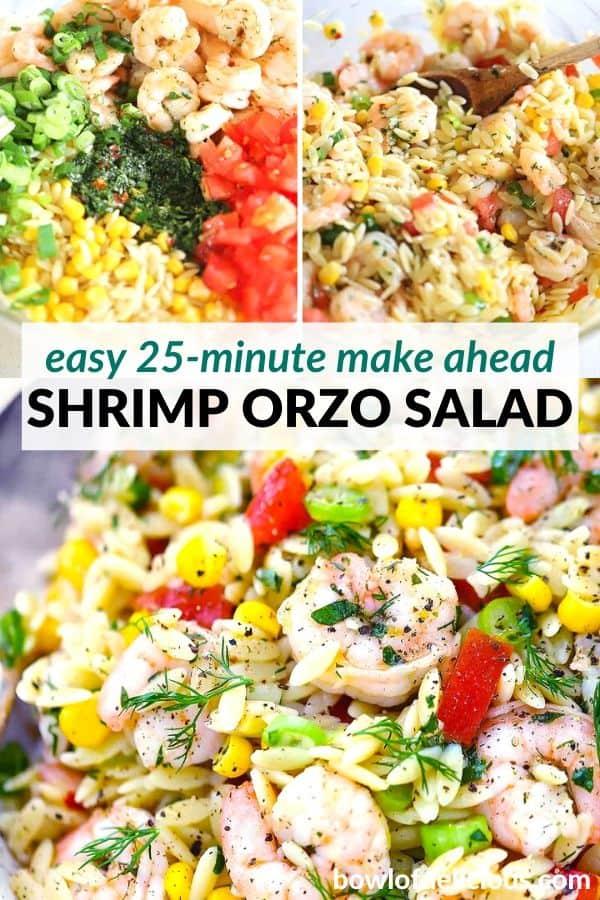 pinterest image for shrimp orzo salad