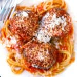 Square photo for baked beef meatballs.