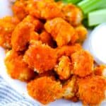 Square image of buffalo cauliflower wings.