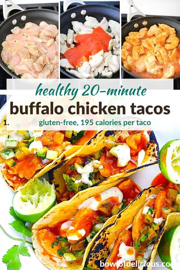 Pinterest image for buffalo chicken tacos.