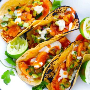 Square image for buffalo chicken tacos.