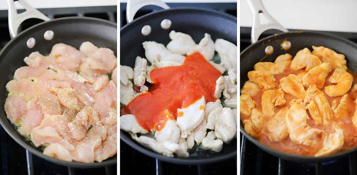 How to cook chicken breasts with buffalo sauce for tacos.