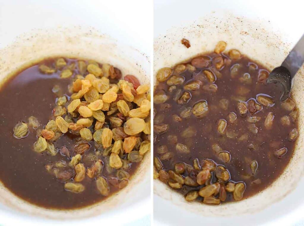 Mixing a spiced dressing with golden raisins.