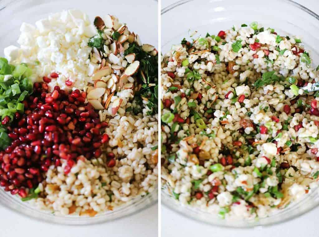 Process collage showing how to mix barley salad with feta, pomegranate, scallions, almonds, parsley, and raisins.
