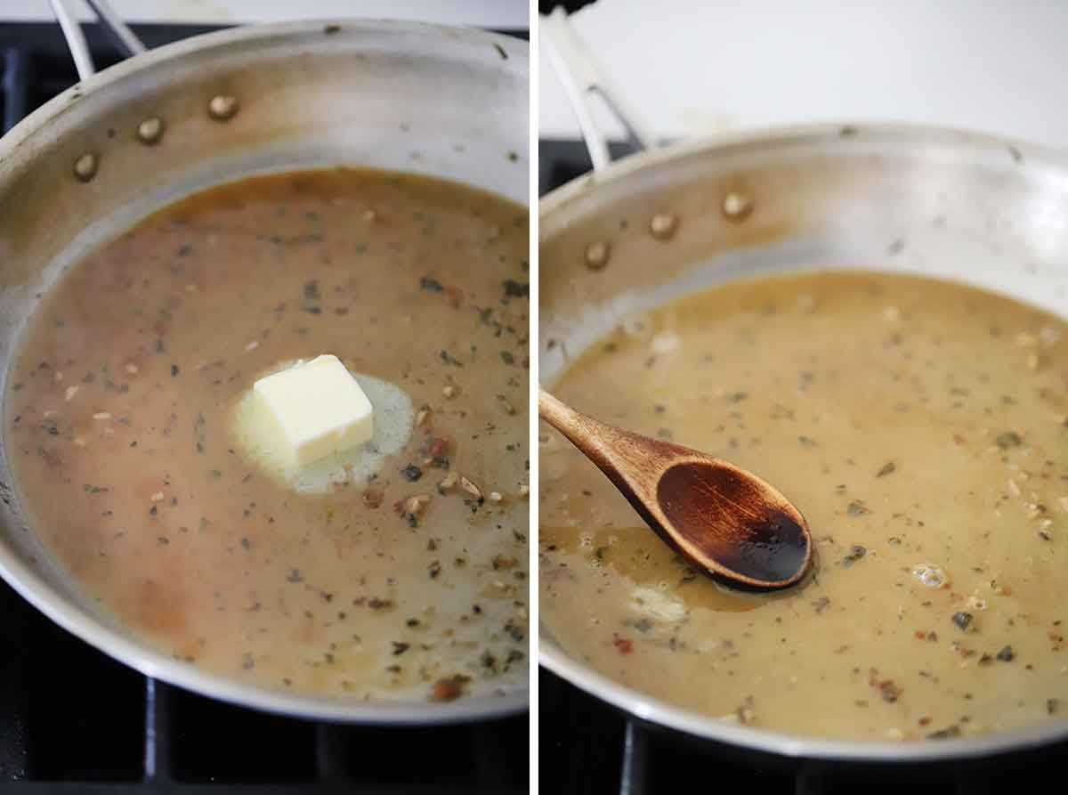 Process collage showing how to make a white wine butter pan sauce for pork chops.
