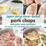 Pinterest image for oven baked pork chops.