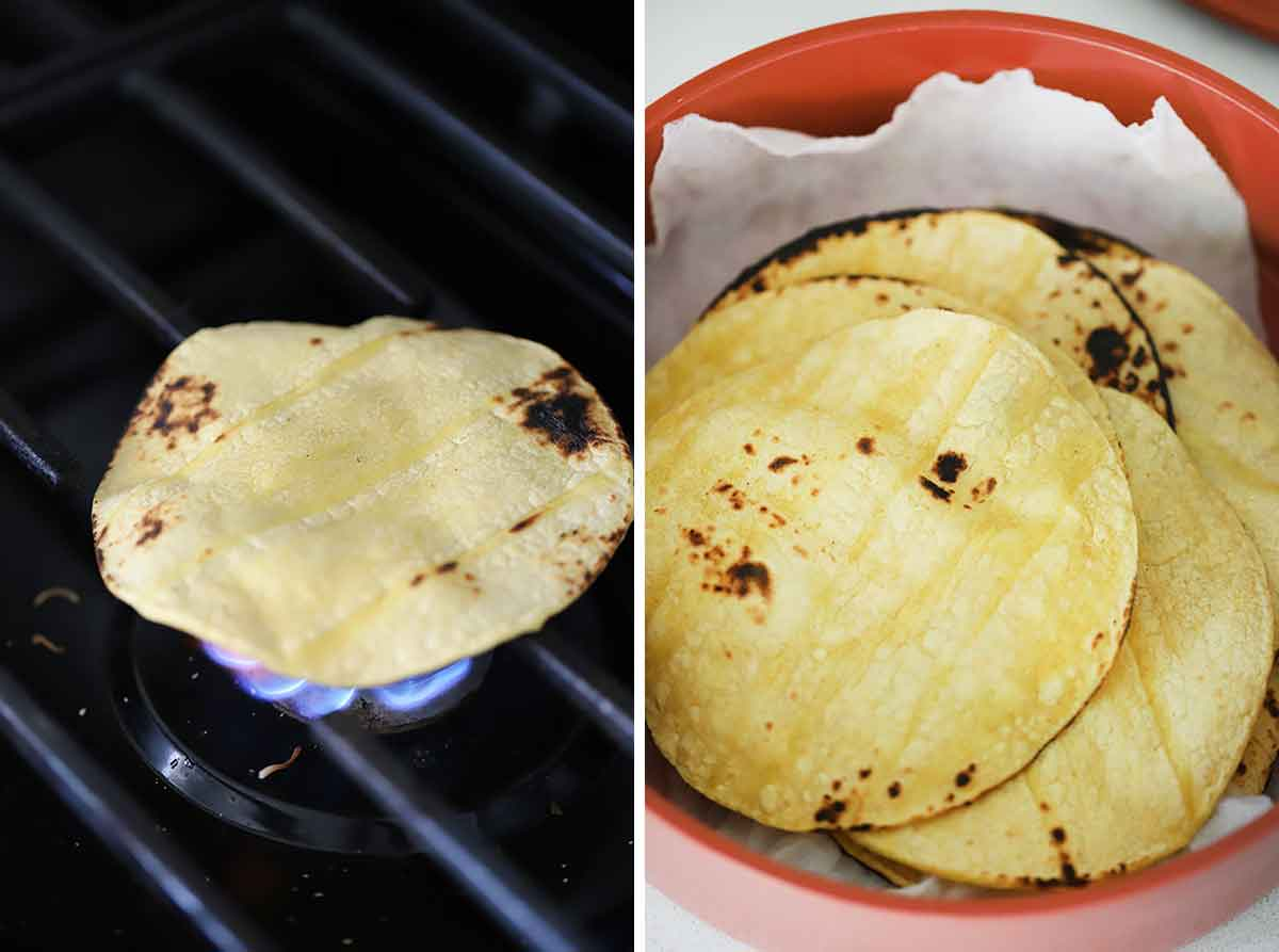 How to toast corn tortillas on a gas burner.