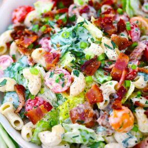 Square photo of BLT pasta salad close-up.