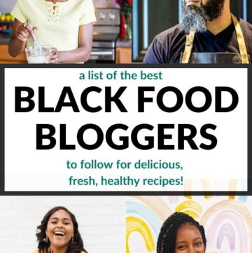 Collage of black food bloggers to follow.