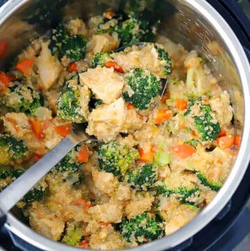 Square photo of instant pot chicken broccoli and quinoa with cheese.