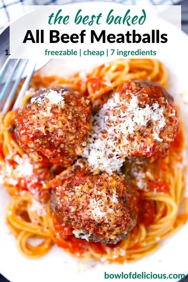 Pinterest image for baked beef meatballs.