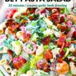 Pinterest image for BLT pasta salad.