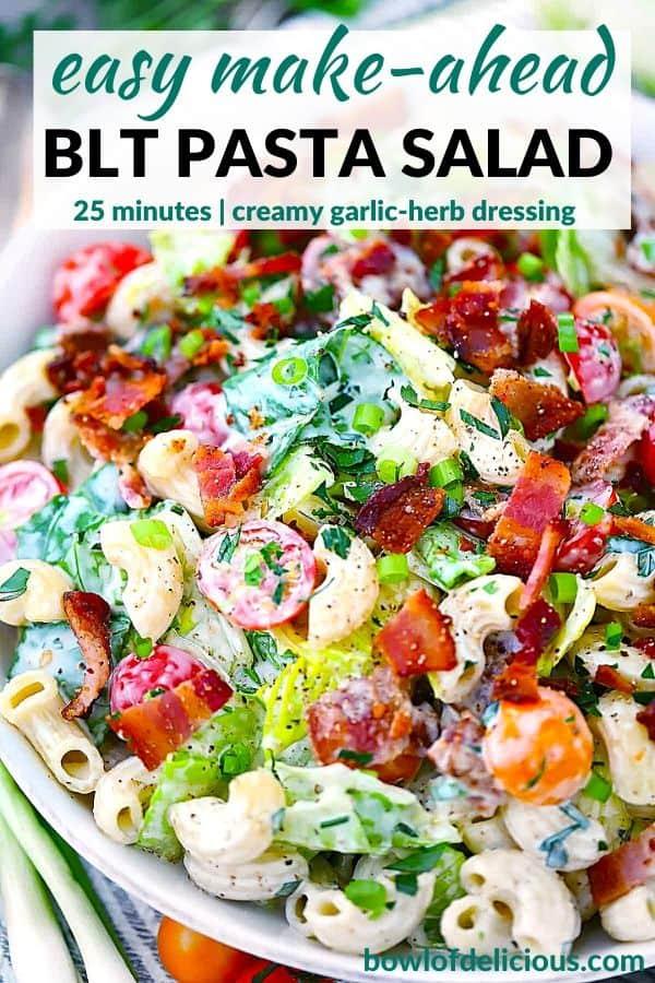 Pinterest image for BLT pasta salad.