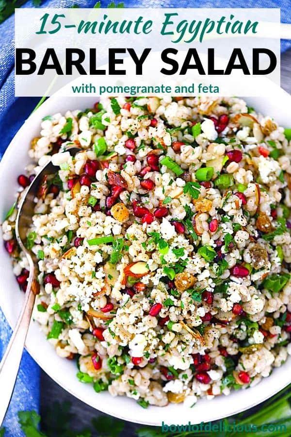 Pinterest image for Egyptian Barley Salad.