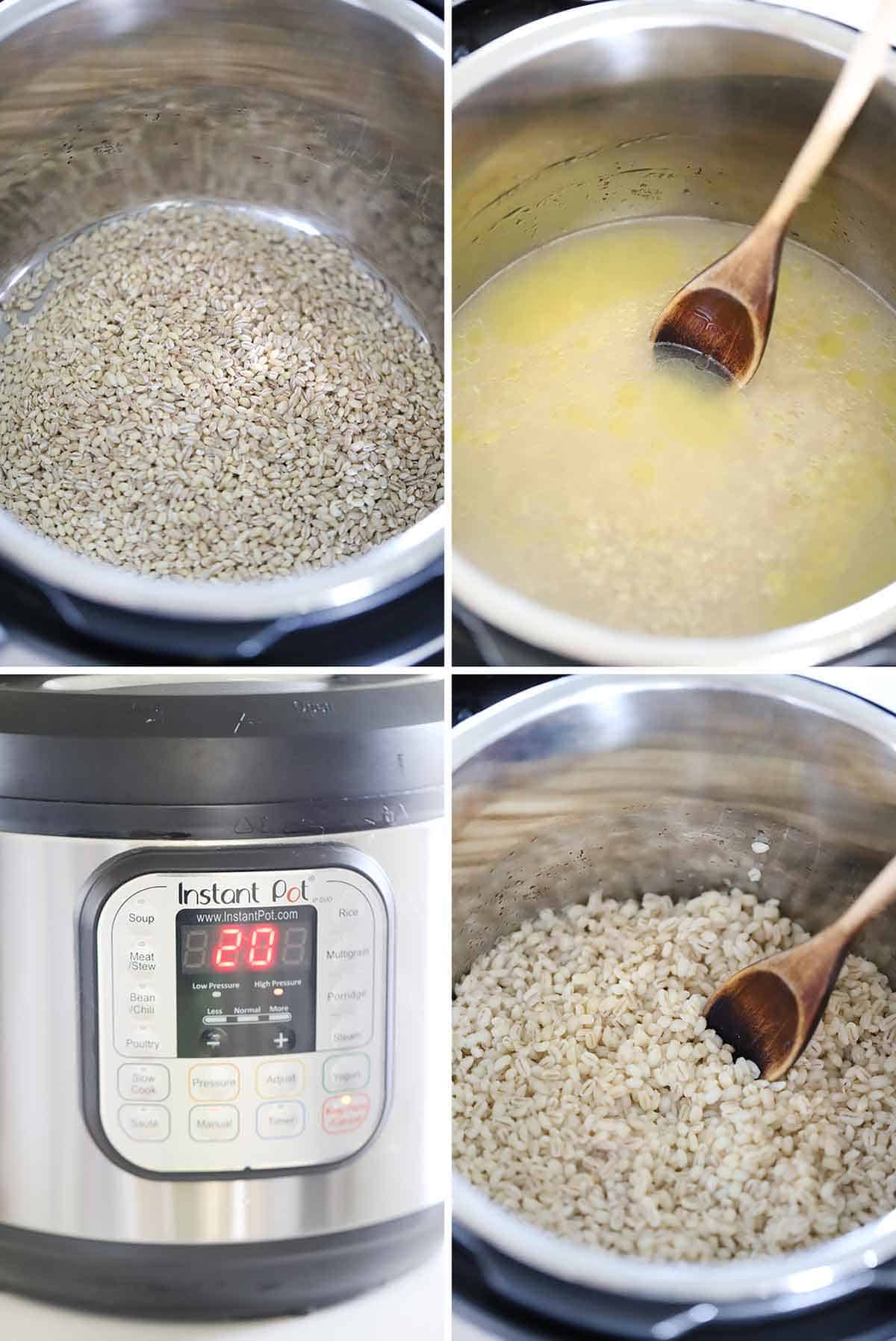 Process collage showing how to cook barley in an instant pot.