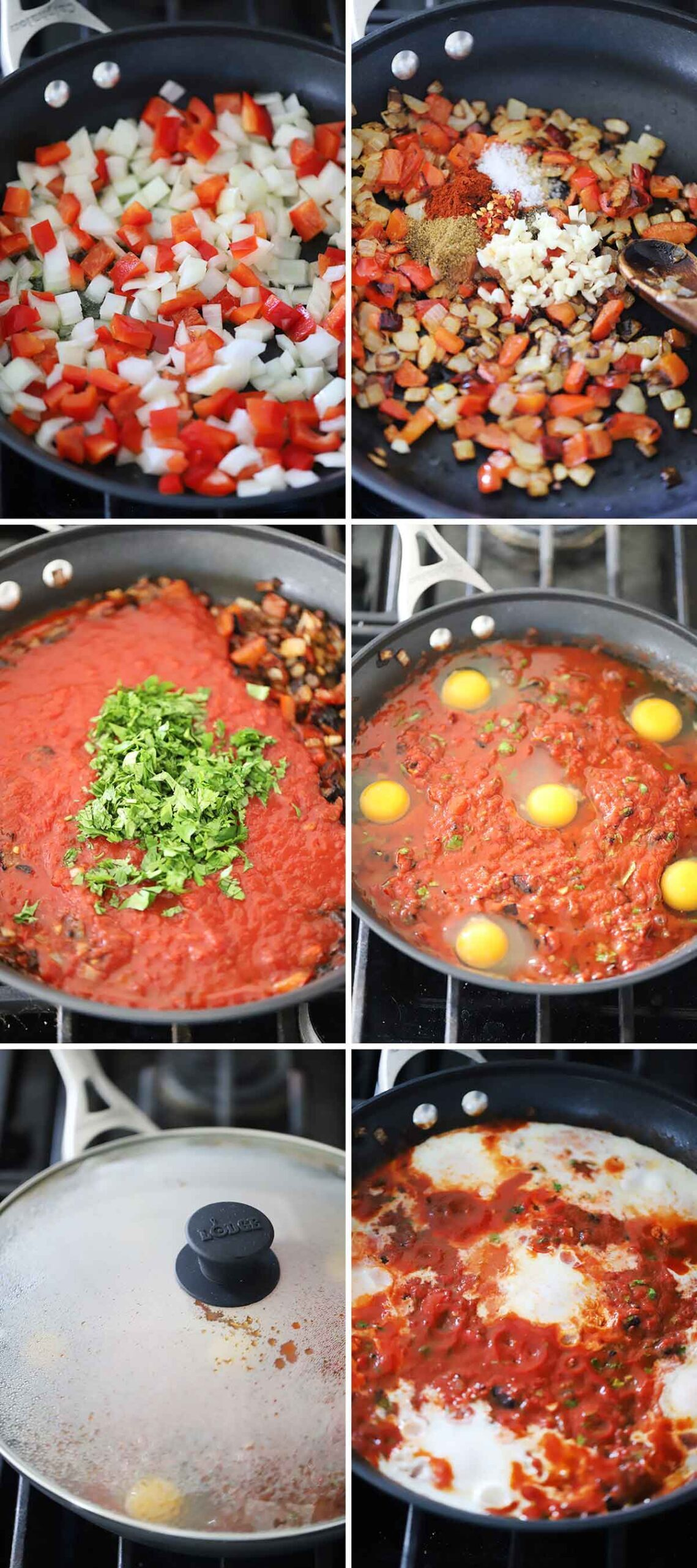 A process collage showing how to make Shakshuka in a skillet.