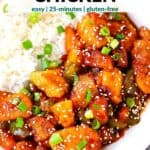 Pinterest image for sweet and sour chicken.