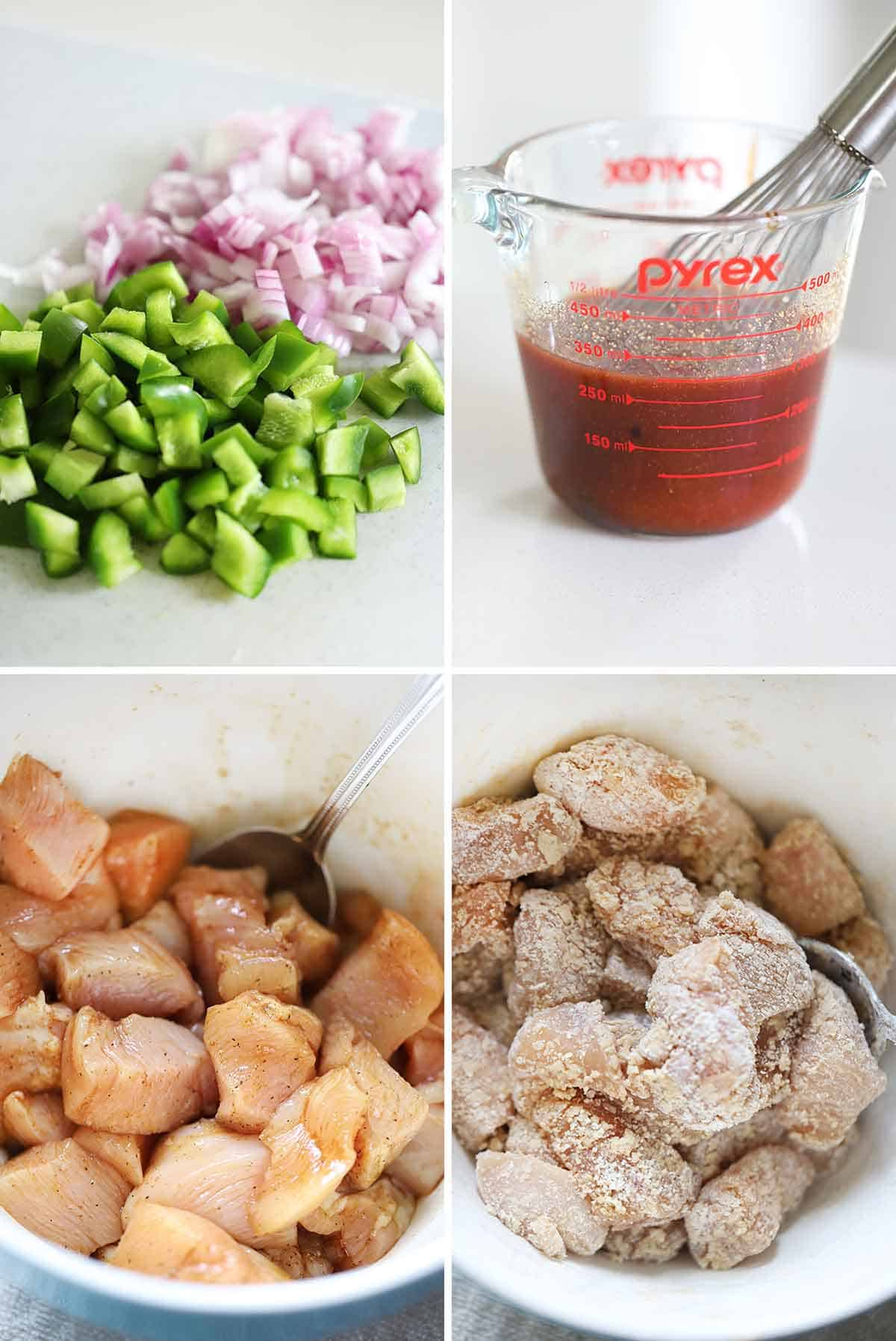 Process collage showing how to prep bell peppers, onions, sweet and sour sauce, and chicken.