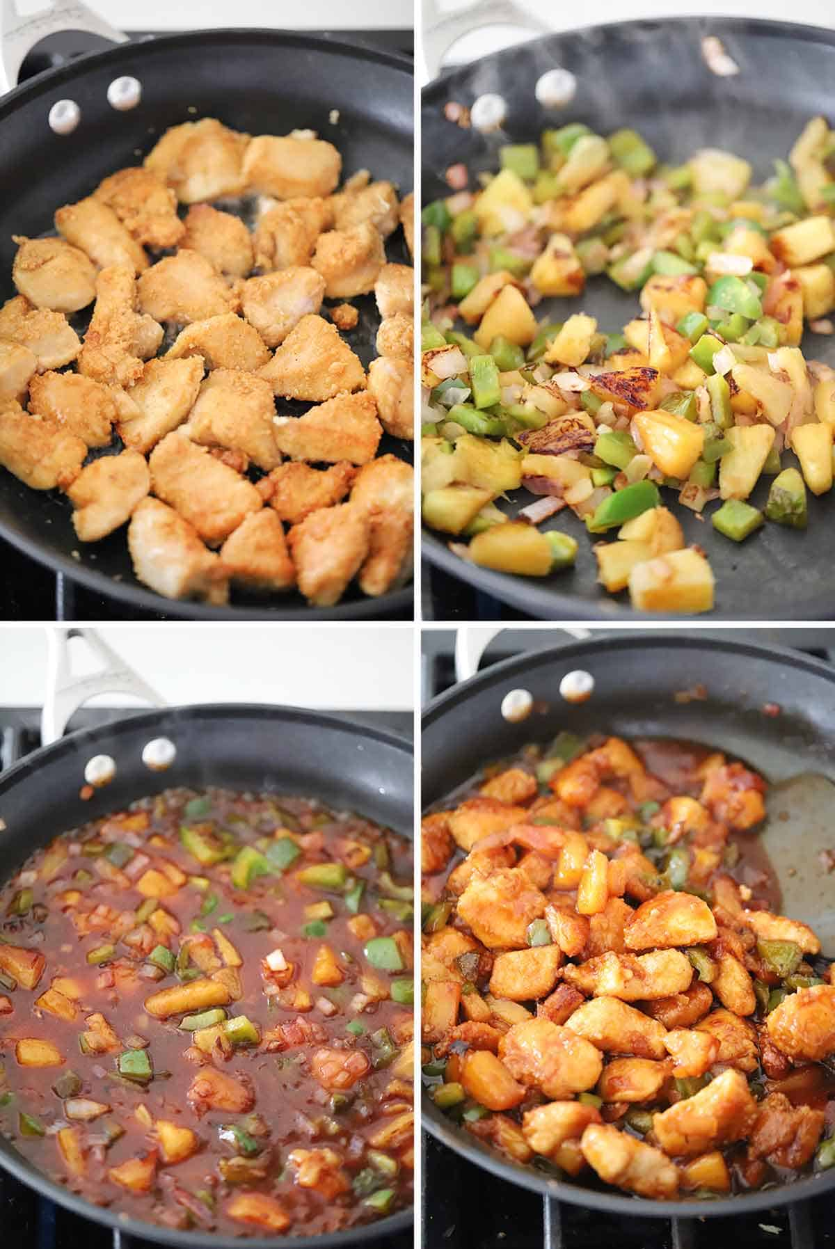 Process collage showing how to make sweet and sour chicken in a skillet.