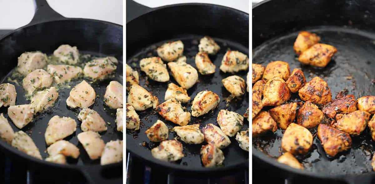 Process collage showing how to cook Greek Chicken Bites in a cast iron skillet.
