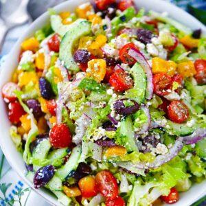 Square photo of Greek salad.