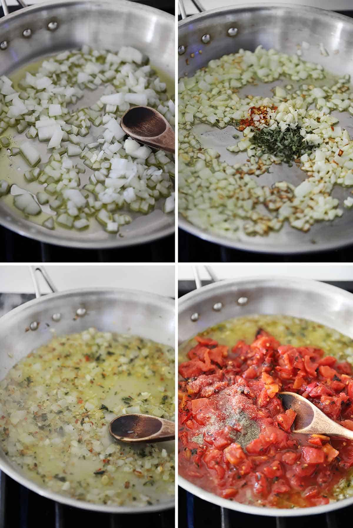 Process collage showing sautéing onions with garlic and herbs and adding diced tomatoes in a skillet.
