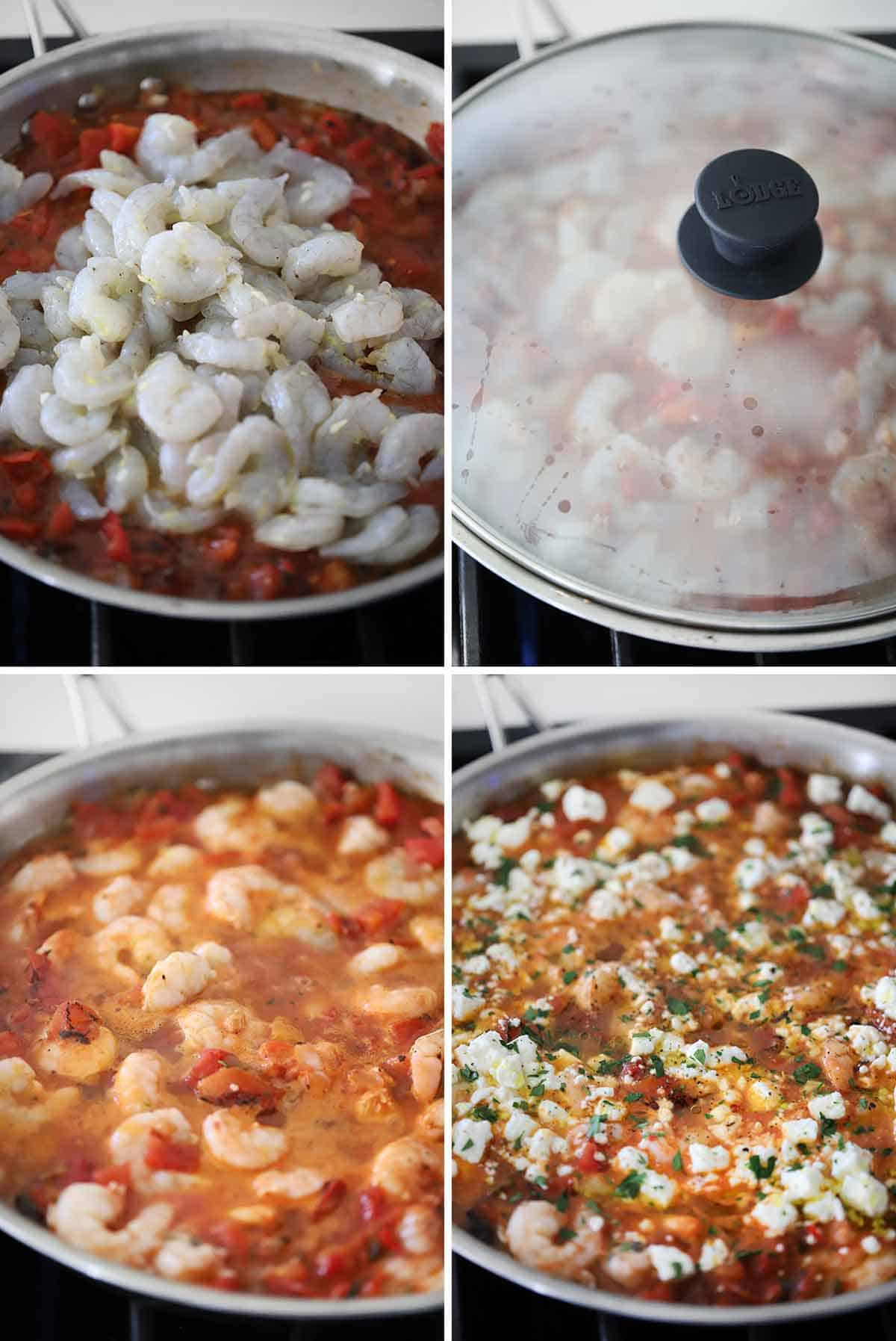 Process collage showing simmering shrimp in tomato sauce and topping with feta.