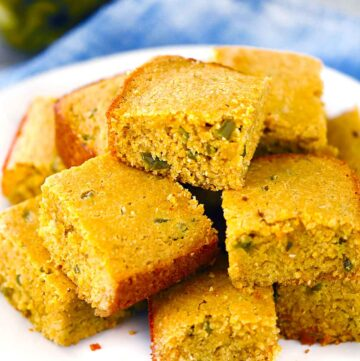 Square photo of jalapeño cornbread.