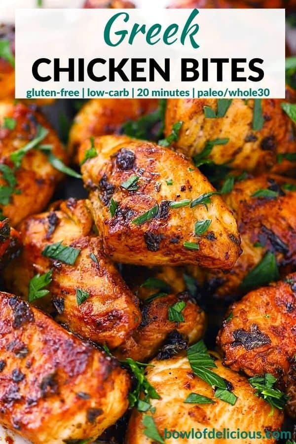 Pinterest image for Greek Chicken Bites.