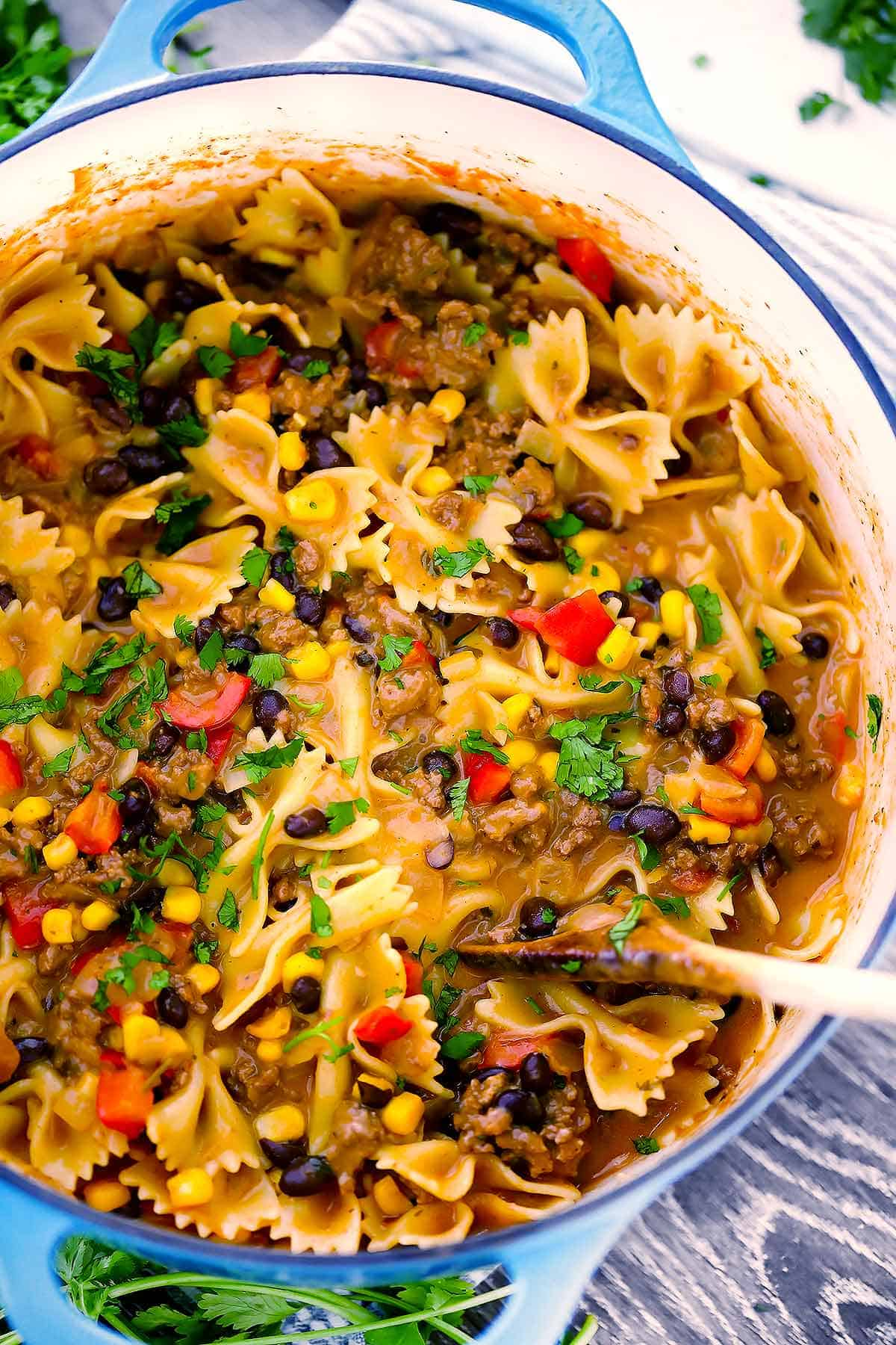 Close-up photo of one pot taco pasta in a Dutch oven.