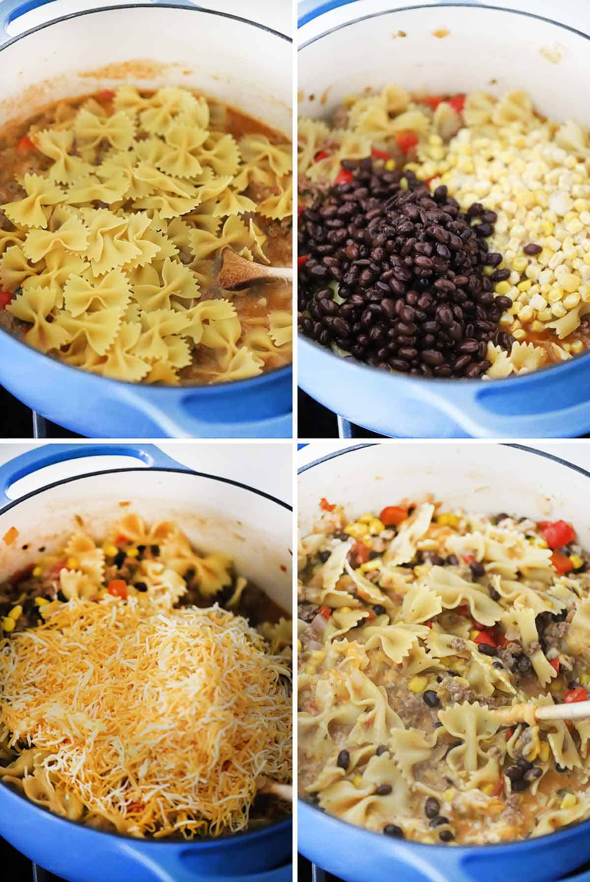 Process collage showing adding dry pasta, black beans, corn, and cheese to make taco pasta.