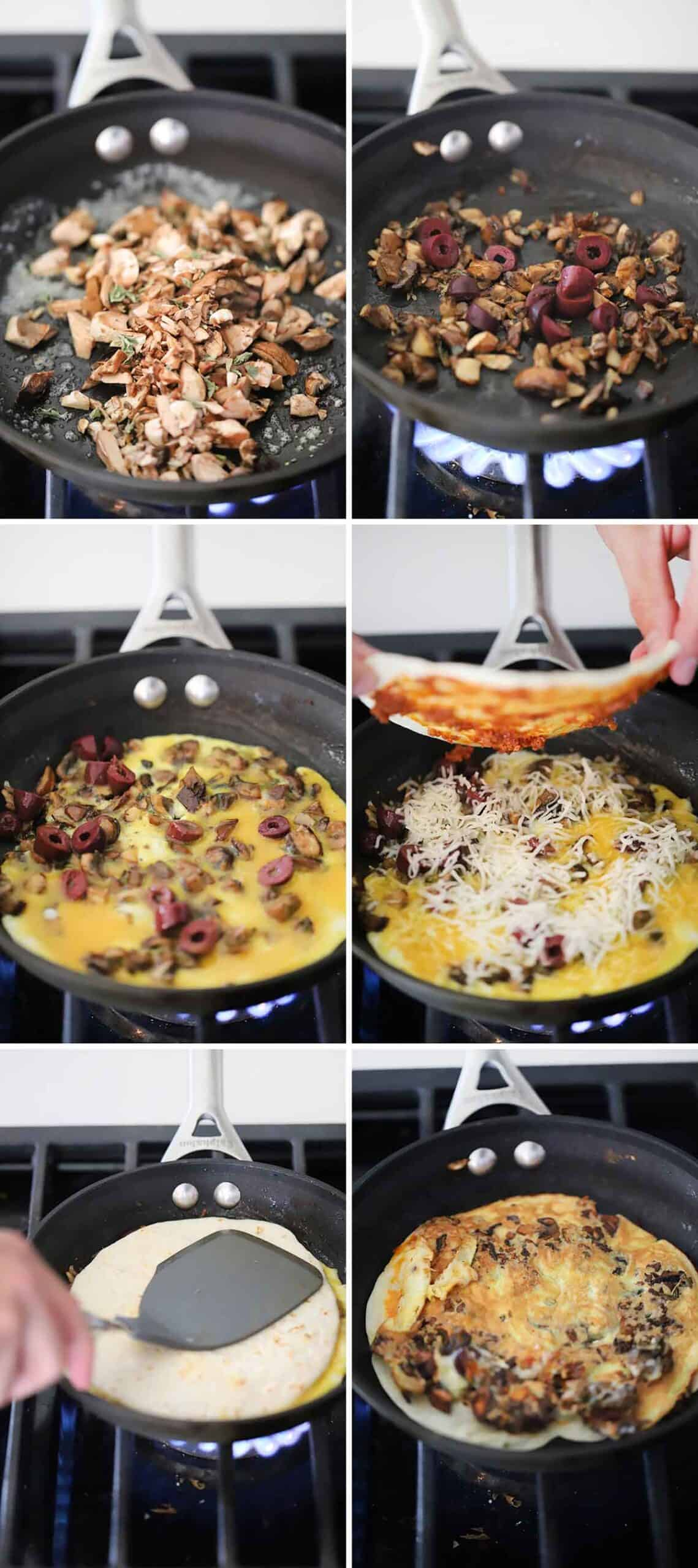 Process collage showing how to make an egg wrap with mushrooms, olive, cheese, and a tortilla in a skillet.