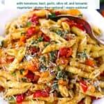 Pinterest image for bruschetta pasta