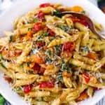 Square photo of bruschetta pasta.