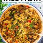 Pinterest image for one pot taco pasta.