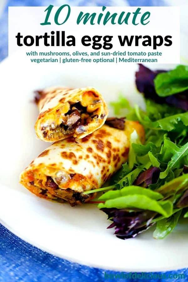 Pinterest image for tortilla egg wraps.