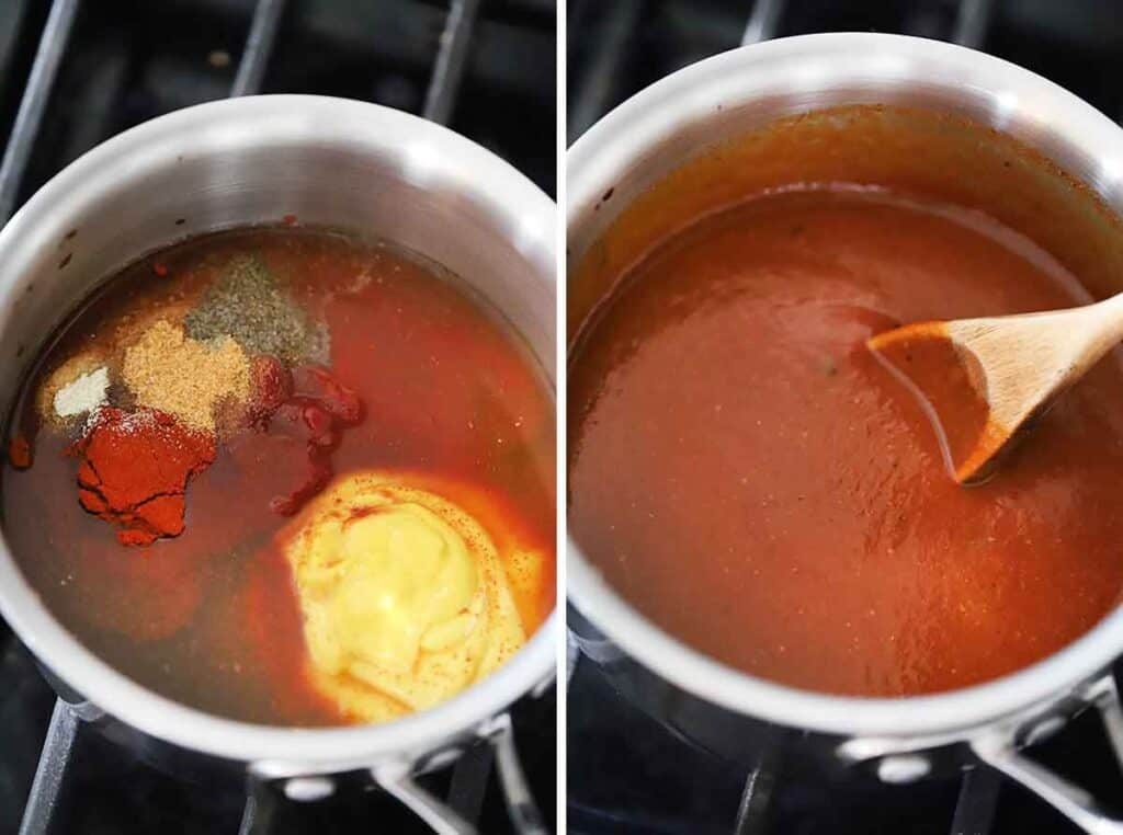 Process collage showing simmering homemade barbecue sauce in a saucepan.